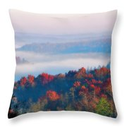 Sunrise And Fog In The Cumberland River Valley Throw Pillow