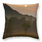 Sunrise And The Early Morning Fog Iron Throw Pillow