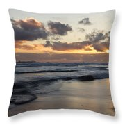 Sunrise At Bamburgh Beach Throw Pillow