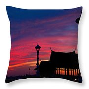 Sunrise At Sisowath Quay. Throw Pillow