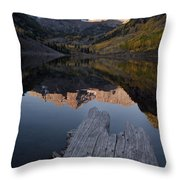 Sunrise At The Maroon Bells Reflected Throw Pillow