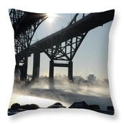 Sunrise Blue Water Bridges Fog Throw Pillow