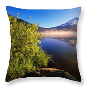 Sunrise Fog On Trillium Lake Throw Pillow