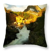 Sunrise On A Waterfall At Glacier  Throw Pillow