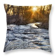 Sunrise On The St Vrain River Throw Pillow