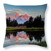 Sunrise On The Tetons Throw Pillow