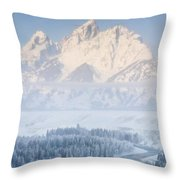 Sunrise Over A Snow-blanketed Landscape Throw Pillow