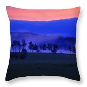 Sunrise Over Field With Trees Throw Pillow