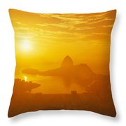 Sunrise Over Rio De Janeiro And Sugar Throw Pillow