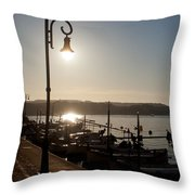 sunrise - First dawn of a spanish town is Es Castell Menorca sun is a special lamp Throw Pillow