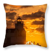 Sunrise Pier Fishermen Throw Pillow