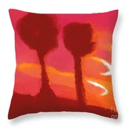 Sunset Abstract Trees Throw Pillow