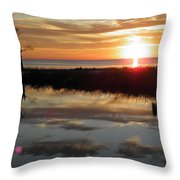 Sunset And Tidal Pool Cape Charles Va Throw Pillow
