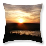 Sunset And Water Throw Pillow