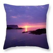 Sunset At Benbane Head On The North Throw Pillow