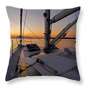 Sunset At Burlington Harbour ... Throw Pillow