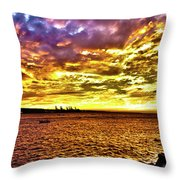 Sunset At Danshui Hdr Throw Pillow