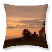 Sunset At East Point Light  Throw Pillow