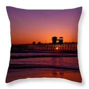 Sunset At Oceanside Pier Throw Pillow