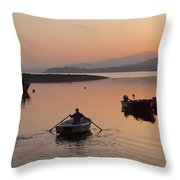 Sunset At Rosdohan Pier Near Sneem Throw Pillow
