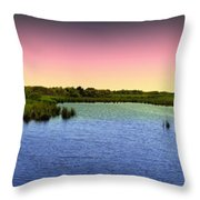 Sunset At Sandpiper Pond Throw Pillow