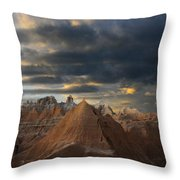 Sunset At The Badlands Throw Pillow