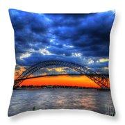 Sunset At The Bayonne Bridge Throw Pillow