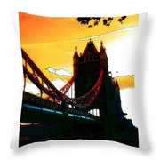 Sunset At Tower Brigde Throw Pillow