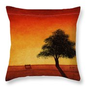 Sunset Bench Throw Pillow