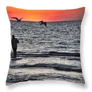 Sunset Fisherman Throw Pillow