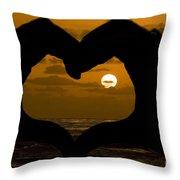 Sunset Hearts Throw Pillow