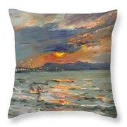 Sunset In Aegean Sea Throw Pillow