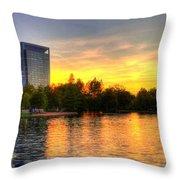 Sunset In Hermann Park Throw Pillow
