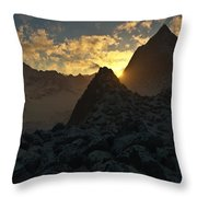 Sunset In The Stony Mountains Throw Pillow