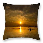 Sunset Kayak Throw Pillow