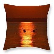 Sunset Kayakers Throw Pillow