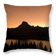 Sunset Swift Current Lake Glacier National Park Throw Pillow
