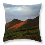 Sunset Light Hitting The Mountains Throw Pillow