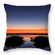 Sunset Moon Venus Throw Pillow