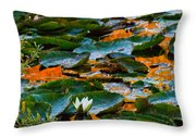 Sunset On A Lily Pond Throw Pillow