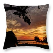 Sunset On Biloxi Bay Throw Pillow