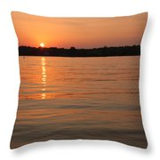 Sunset On Geist Reservoir In Lawrence In Throw Pillow