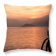 Sunset On Lake Como Throw Pillow