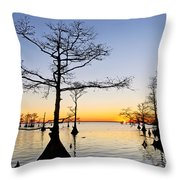 Sunset On Lake Mattamuskeet Throw Pillow