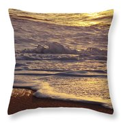 Sunset On Small Wave Throw Pillow
