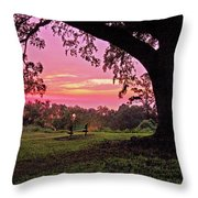 Sunset On The Bench Throw Pillow