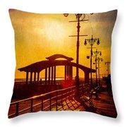 Sunset On The Boardwalk Throw Pillow