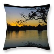 Sunset On The Dock Throw Pillow