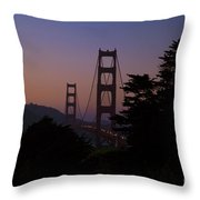 Sunset On The Golden Gate Throw Pillow by Tim Mulina