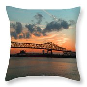 Sunset On The Mississippi  Throw Pillow